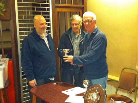 Clifford Peach presents James Fowler and Barclay Best with the Cookworthy Cup