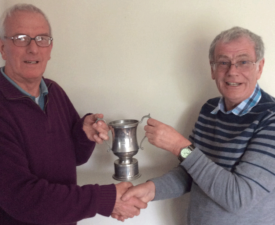 Clifford Peach presents the Match Player of the Year Cup to Roy Greenhalgh