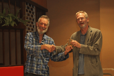 Andrew Kinder presents the Divison 2 Individual Trophy to Wilf Taylor (Newton Abbot)